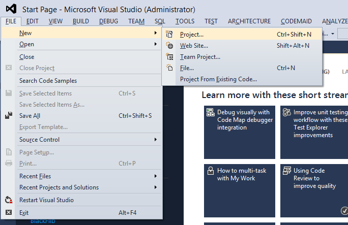 On Visual Studio Click on File -> New -> Project