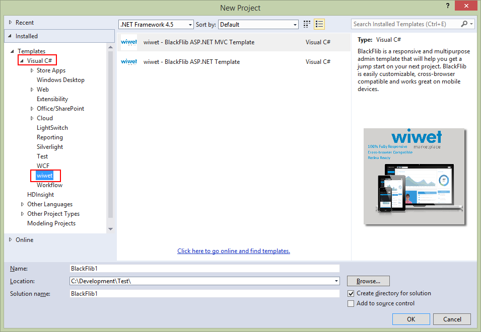 On the New Project Window Select Visual C# -> wiwet