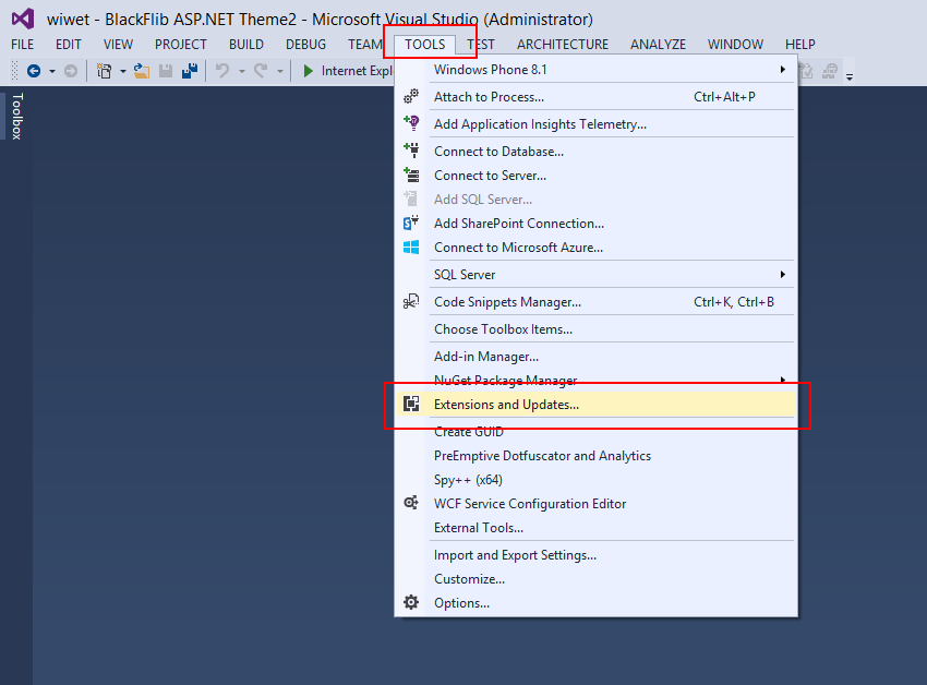 On Visual Studio Click on Tools -> Extensions and Updates