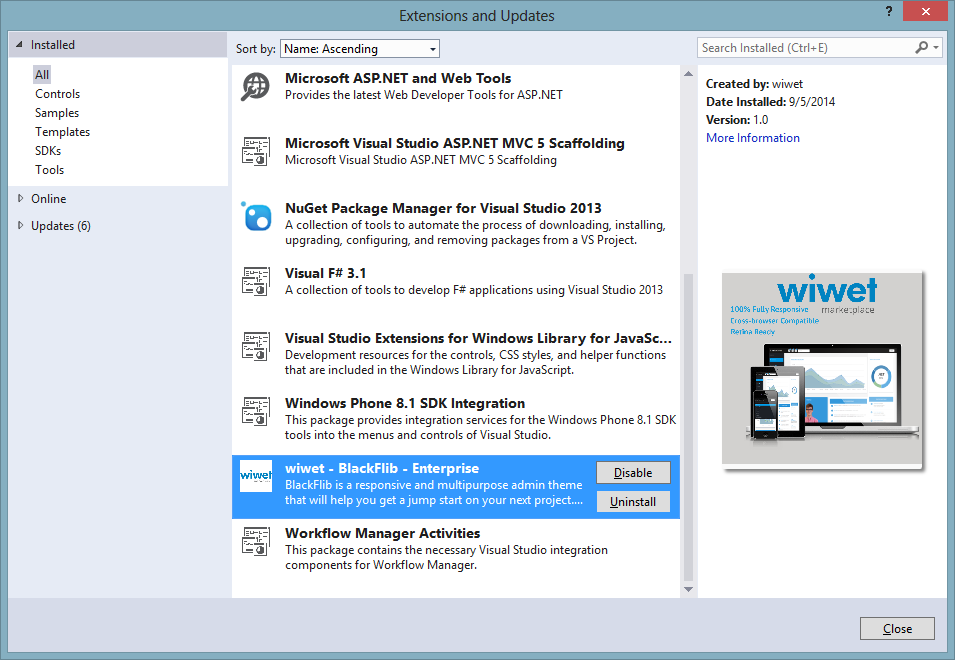 On the Extensions and Updates Window Select the wiwet Template and Click on the Uninstall Button